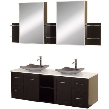 Wyndham Collection Avara 60 inch Double Bathroom Vanity in Espresso, White Man-Made Stone Countertop, Pyra White Porcelain Sinks, and Medicine Cabinets