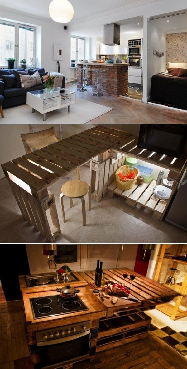 DIY Kitchen Island Of Pallets; LOVE the brick island and the stovetop pallet island
