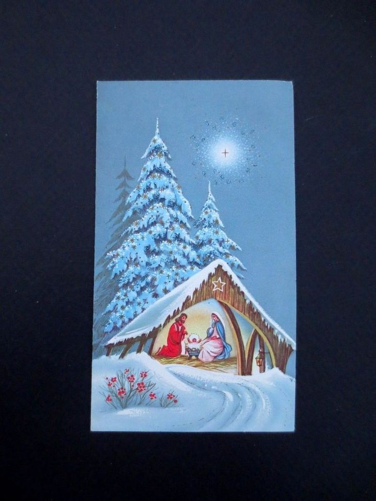 #L136- Vintage Glittered  Xmas Greeting Card Nativity Scene Snow Covered Trees
