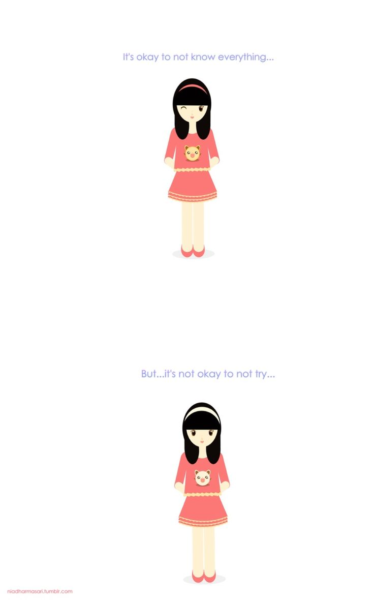 """Cute Doodles Illustration — """"It's okay to not know everything, but it's not..."""