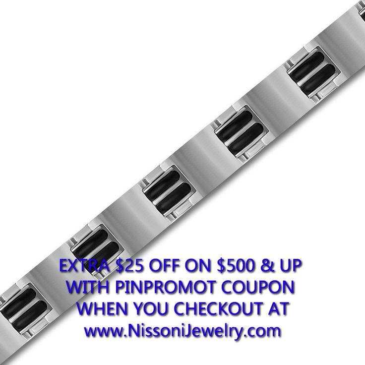 NissoniJewelry.com presents - Titanium and Black Rubber Gents Bracelet    Model Number:BRV1675    Price:$59.99    https://nissonijewelry.com/jewelry/titanium-and-black-rubber-gents-bracelet/brv1675.html
