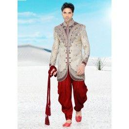 Incredible Beige Colored Embroidered Silk Indo Western Sherwani 1109
