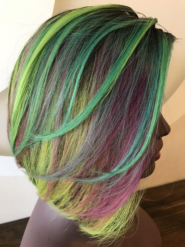 Kaleidoscope Color Wig Neon hair, Neon hair color, Wigs