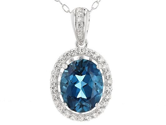 2.60ct Oval London Blue Topaz And .27ctw Round White Zircon Sterling S