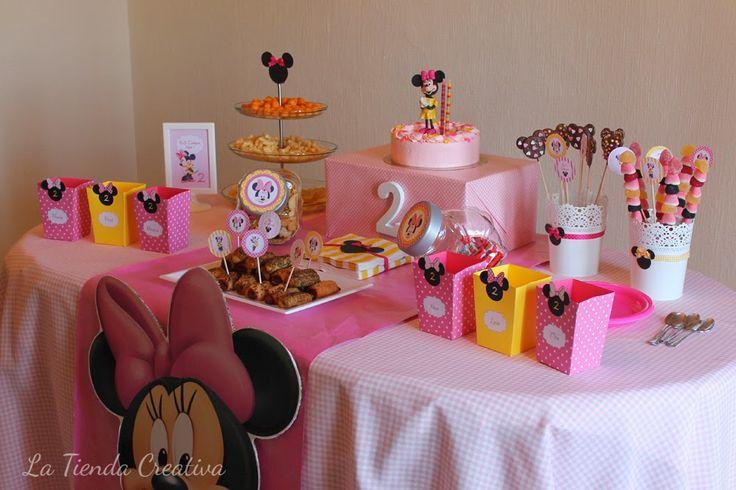 Decoracion Minnie Fucsia ~   Minnie en rosa, fucsia y amarillo  Mesas de Dulces para ni?o