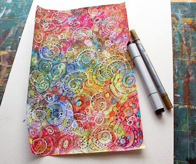 After water coloring drys, doodle with Pitt pens, then gel pens, then colored pencils, white-out pen, black marker &/or gold pen.: Doodles Art, Journals Paper, Backgrounds Tutorials, Art Journals, Mixed Media, Patterns Paper, Paper Peonies, Art Tutorials, Paper Crafts