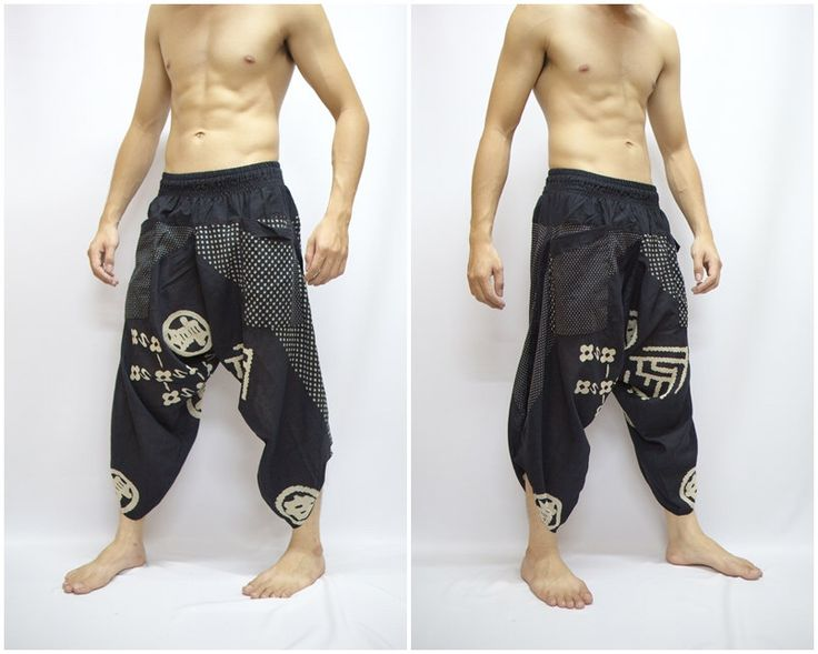 Japanese Style in Samurai Pants in Black, Trouser, Baggy pants, Yoga 100% Cotton(Unisex) One Size Fit All...New by Watcharawaree on Etsy https://www.etsy.com/transaction/241406130