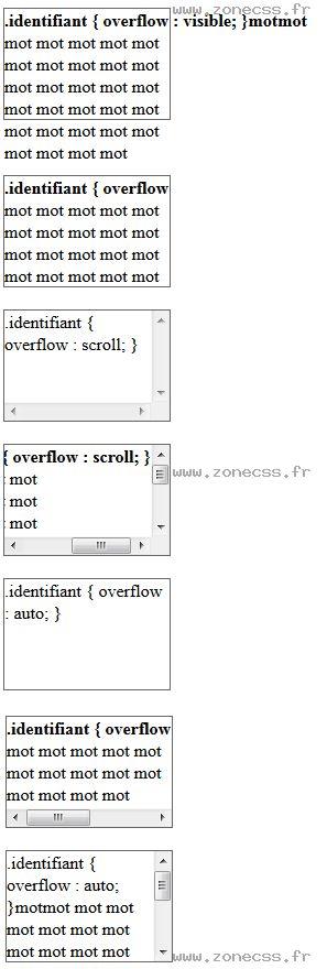 La propriété CSS overflow un raccourci qui permet de gérer le dépassement de contenu et l'affichage de barres de défilement (scrollbar) horizontal et vertical lorsque votre contenu est plus grand que votre élément.