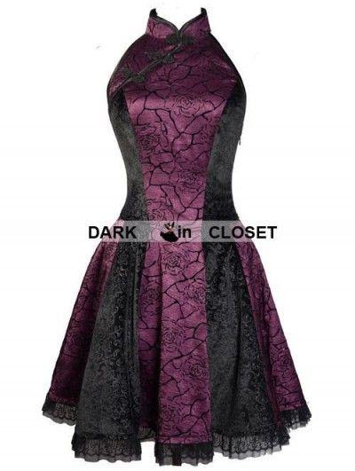 Pentagramme Purple Rose Pattern Chinese Cheongsam Style Gothic Dress