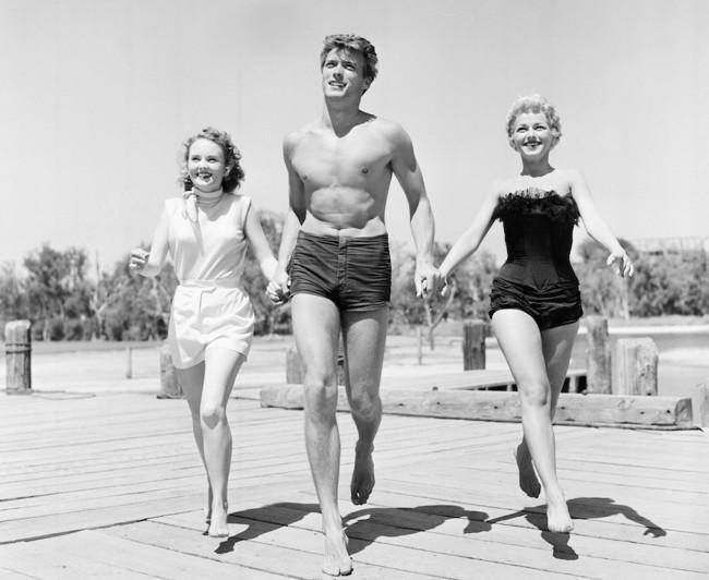 Clint Eastwood with actresses Olive Sturgess and Dani Crayne in San Francisco 1954