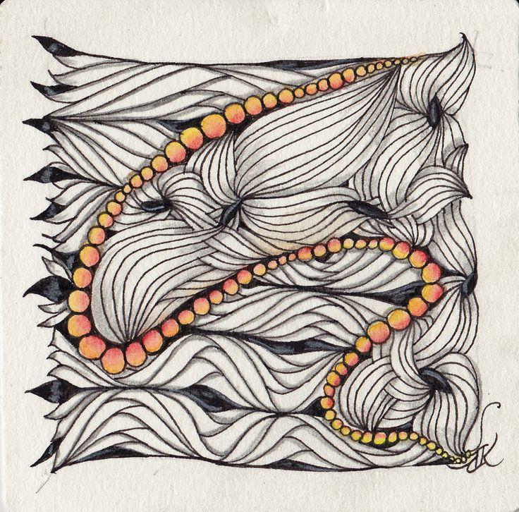 Zentangle using new tangle, A-fog, and Derwent Inktense Pencils by Kathy Redmond, CZT