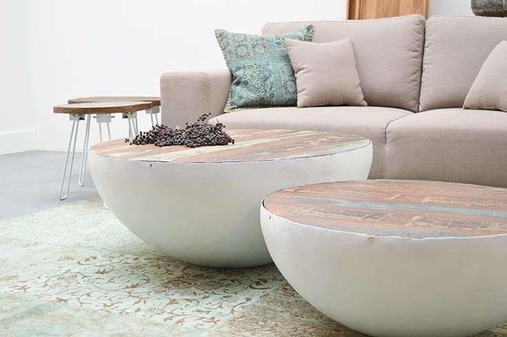 Couchtisch John Bowl weiß und Vintage-Holz 90 cm Durchmesser