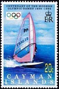 Stamp: Surf (Cayman Islands) (Cent. Of Modern Olympic Games) Mi:KY 753
