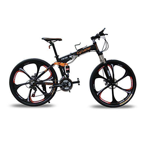 Cyrusher® New Updated Black FR100 Mountain Bike Folding Frame MTB Bike Dual Suspension Mens bike Matt Black Shimano M310 ALTUS 24 Speeds 17inch*26inch Aluminum Frame Bicycle Disc Brakes