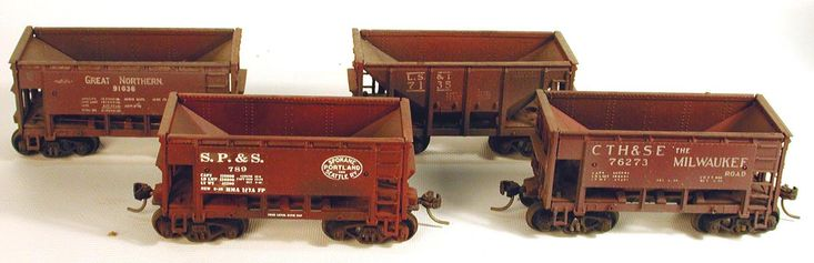 Five Ore Cars from Different Railroads