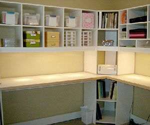 overhead cubbies / shelves above desk/table in sewing room / craft room