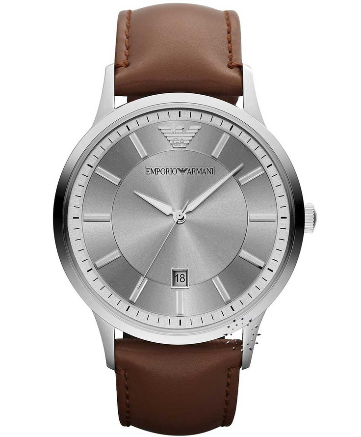 Emporio Armani Classic Brown Leather Strap, 205€ http://www.oroloi.gr/product_info.php?products_id=33553