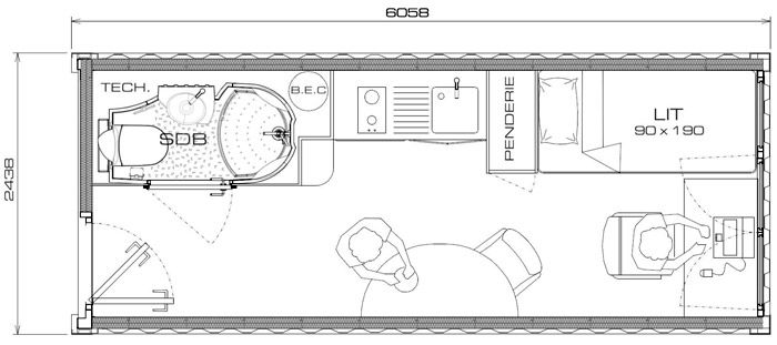 Plan conteneur 20 pouces pour tudiant container pinterest construction Plan maison conteneur