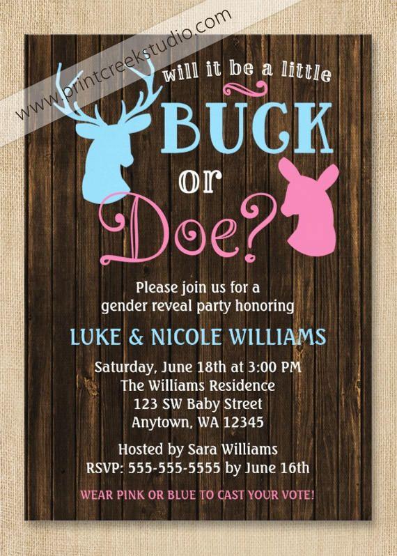 Buck Or Doe Gender Reveal Party Invitations Gender