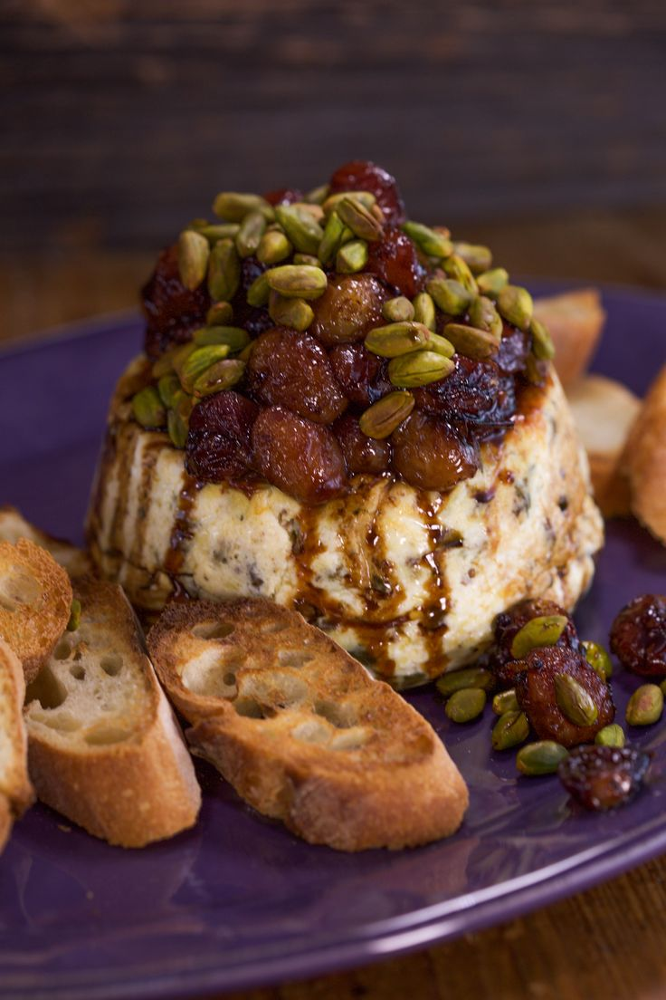 This baked ricotta with pistachios is basically a warm Italian cheeseball!                                                                                                                                                                                 More