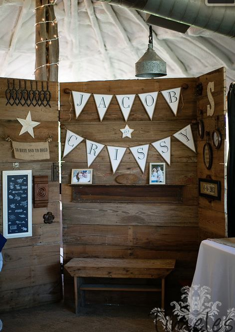Rustic wedding photobooth.