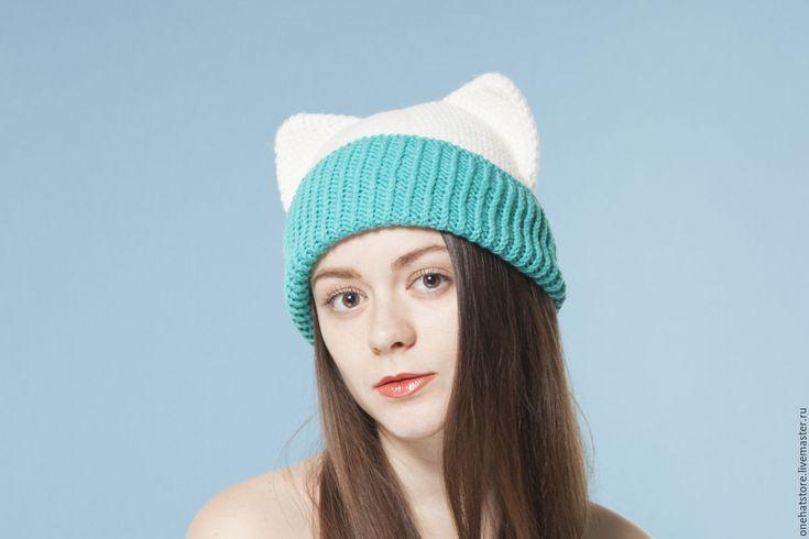 Купить Белая теплая вязаная шапка с кошачьими ушками для женщин и девушек - вязаная шапка