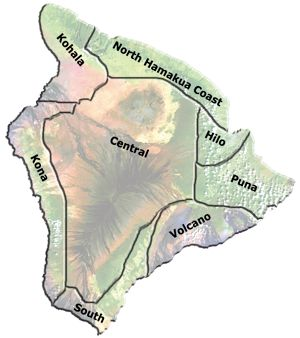 Big Island of Hawaii Regions things to do and places to stay