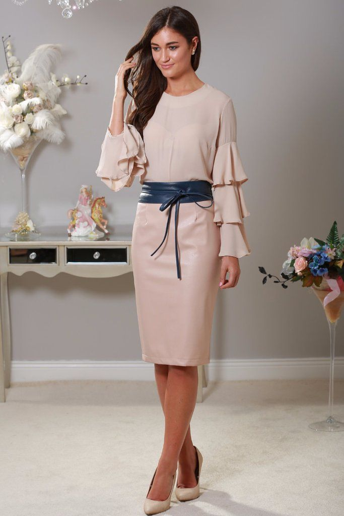 Mika Pink Leather Midi Skirt