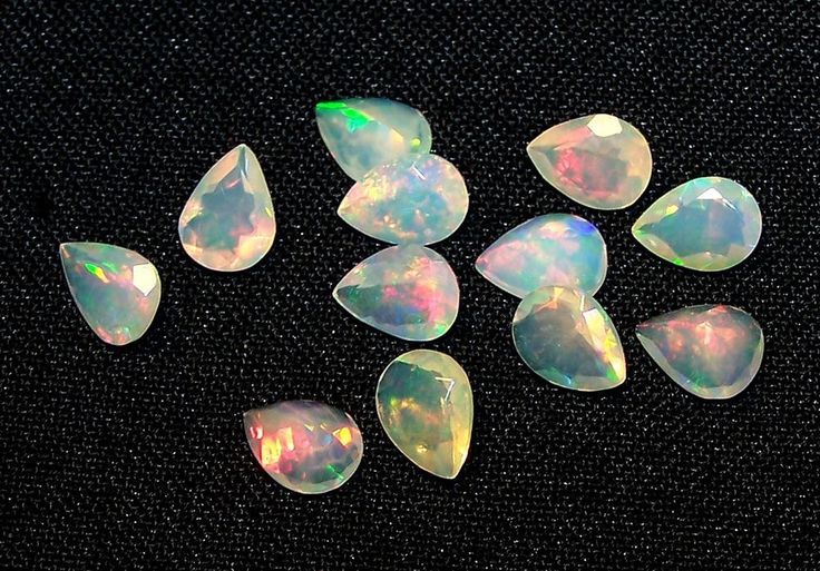 Insane Rainbow Fire Play Ethiopian Opal Faceted Pear 6 x 8 MM Parcel 12 Pcs AAA