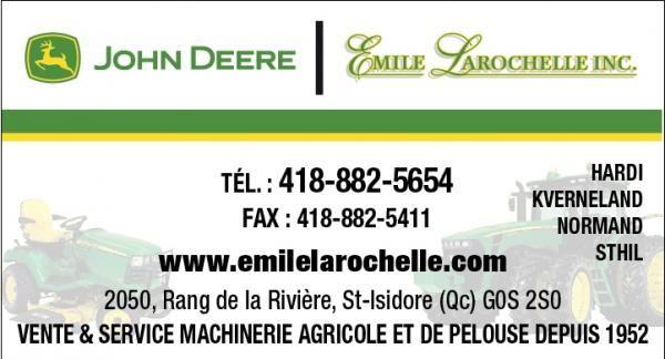 Emile Larochelle inc., Vente et service machinerie agricole et de pelouse, financement disponible