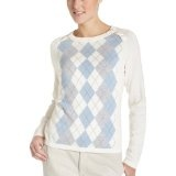 IZOD Women's Long Sleeve Crew Neck Argyle Sweater With Button Shoulder,Snow White,Large (Apparel)By IZOD