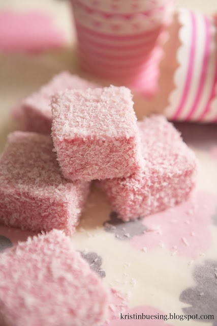Pink marshmallows for Valentine's Day or baby shower