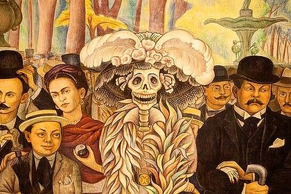 Frida kahlo artwork and meaning frida kahlo in the for Diego rivera day of the dead mural