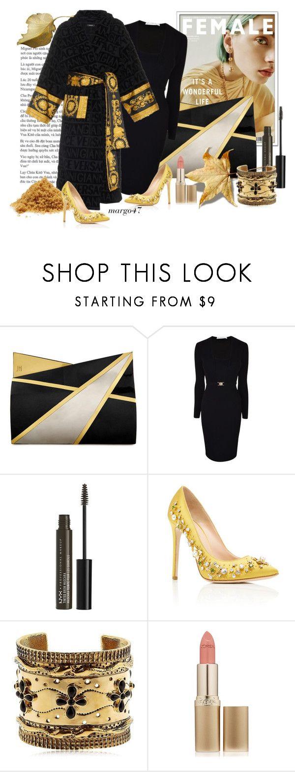 """elegancja"" by margo47 ❤ liked on Polyvore featuring Jill Haber, Versace, NYX, GEDEBE, Aurélie Bidermann and L'Oréal Paris"