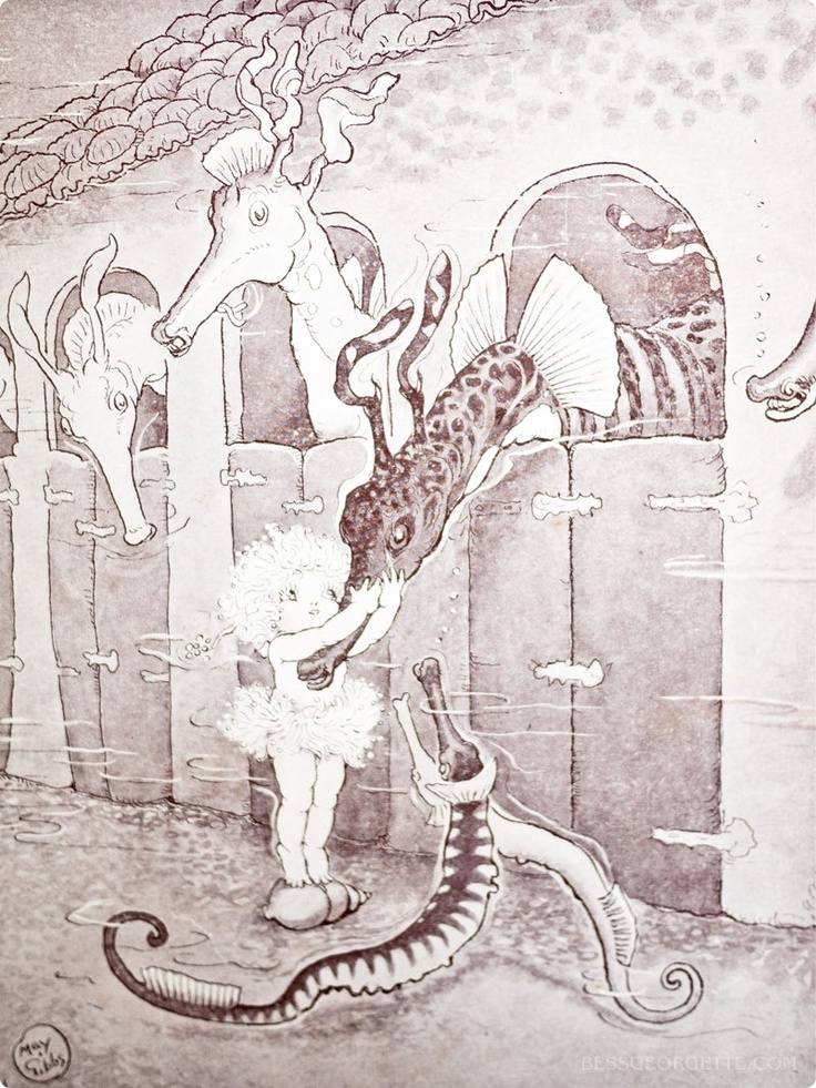 Sea dragons in their stables | Illustration by May Gibbs from 'Little Obelia and Further Adventures of Ragged Blossom, Snugglepot and Cuddlepie'