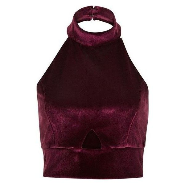 River Island Dark red velvet halter neck crop top ❤ liked on Polyvore featuring tops, crop top, shirts, fitted crop tops, purple shirt, sleeveless crop top, sleeveless tops and cutout tops