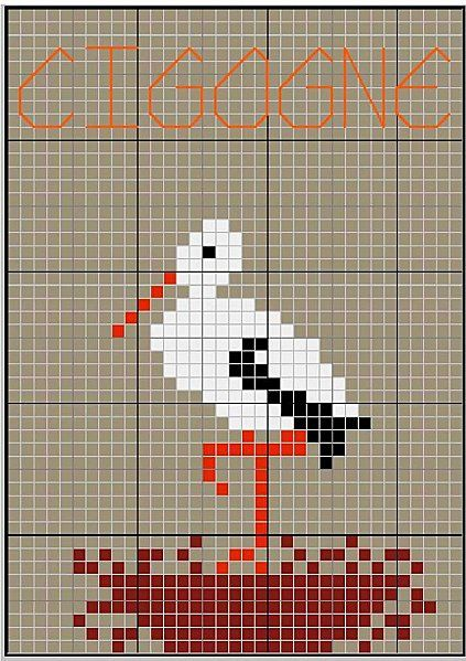 oiseau - bird - cigogne - Point de croix - cross stitch - Blog : http://broderiemimie44.canalblog.com/