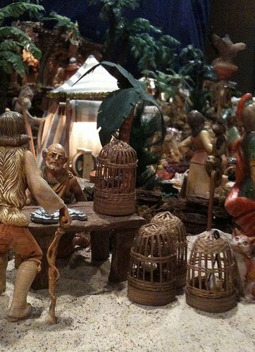 Fontanini Christmas nativity display ideas.    Scene- selling doves to sacrifice at the temple.
