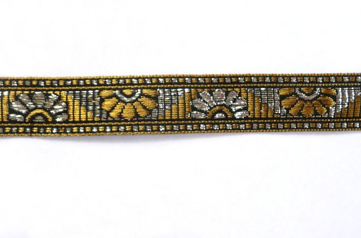 Gold and Silver Fancy Jacquard Ribbon Aztec Tribal African 22mm wide *NEW*