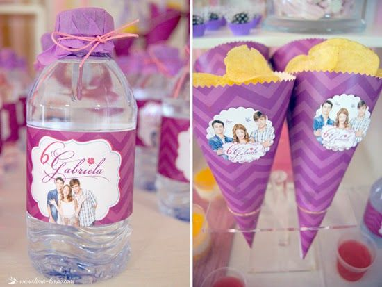 Patata chips and water details for this Violetta themed party