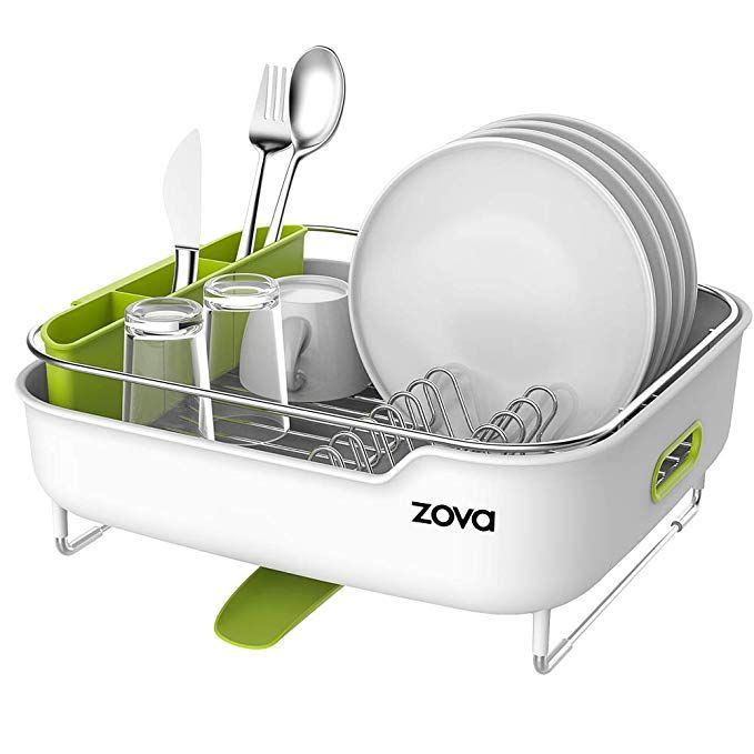 Zova Premium Stainless Steel Dish Drying Rack With Swivel Spout Dish Drainer Utensil Organizer For Kitchen Dish Rack Drying Utensil Organization Dish Drainers
