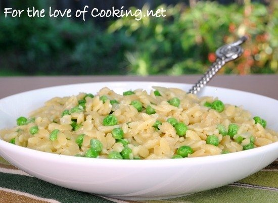 Orzo with peas and parmesan - looks really yummy, must try!