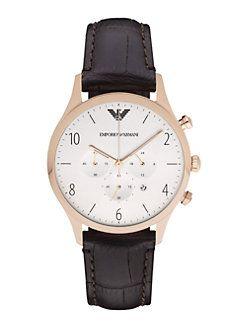 Emporio Armani - Round Stainless Steel Chronograph Watch