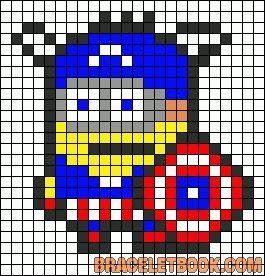 sandylandya.Minion Avenger Captain America perler bead pattern