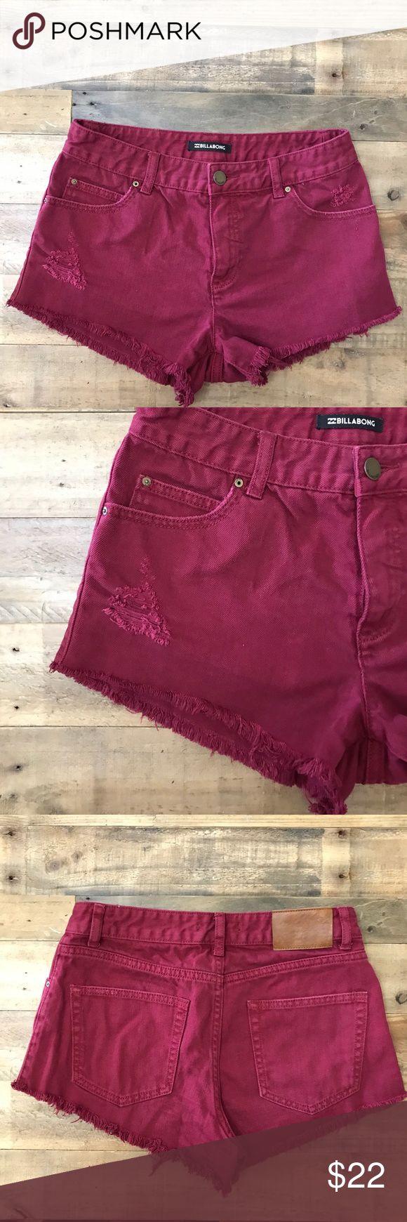 Maroon Shorts Billabong Maroon Shorts. Size 26, fits like a women's 2. Distressed Hem Buckle Shorts Jean Shorts