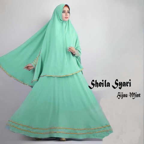 Jual Baju Gamis Sheila Hijau Mint - http://tokogamismodern.com/jual-baju-gamis-sheila-hijau-mint/