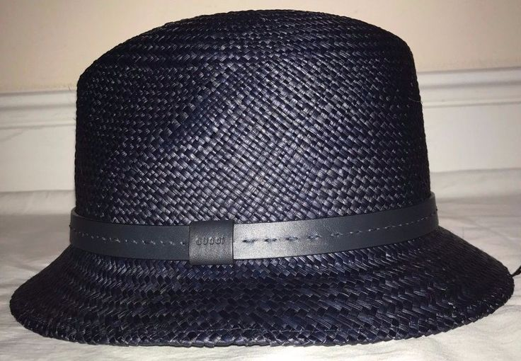 Gucci Mens Blue Straw And Leather Fedora Hat Size Medium #Gucci #Fedora