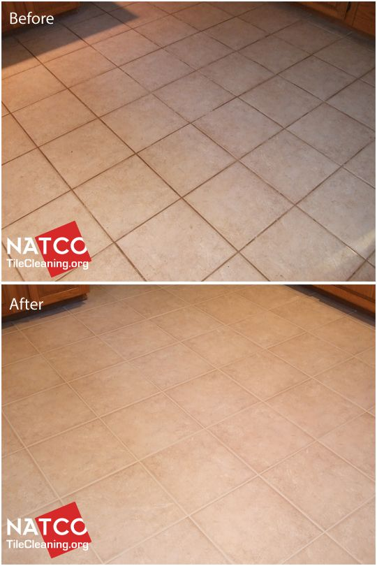 Cleaning and grout recoloring of a kitchen floor that had dirty and greasy grout.