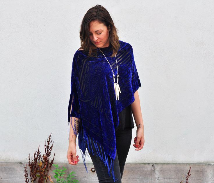 Draped Shawl - Royal Blue Velvet Poncho Shawl Scarf, Outerwear by HalinaShearmanDesign on Etsy