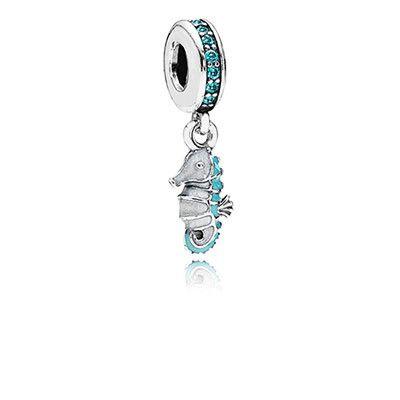 PANDORA | Tropical seahorse, teal cz, turquoise & white enamel